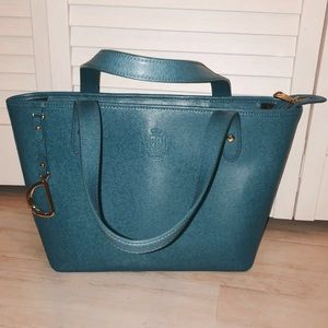 ralph lauren teal tote purse